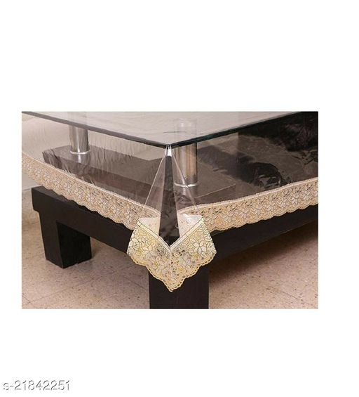 PVC Transparent 4 Seater Square Dining Table Cover With Golden Lace ( Size-60x60 inches)