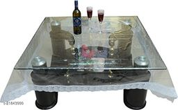 PVC Transparent 6 Seater Square Dining Table Cover With Silver Lace ( Size-72x72 inches)