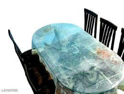 PVC Transparent 6 Seater Oval Dining Table Cover Without Lace ( Size-60x90 inches Oval)