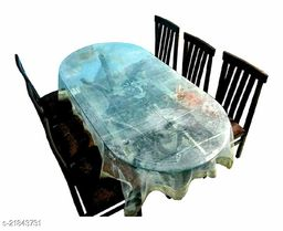 PVC Transparent 6 Seater Oval Dining Table Cover With Golden Lace ( Size-60x90 inches Oval)