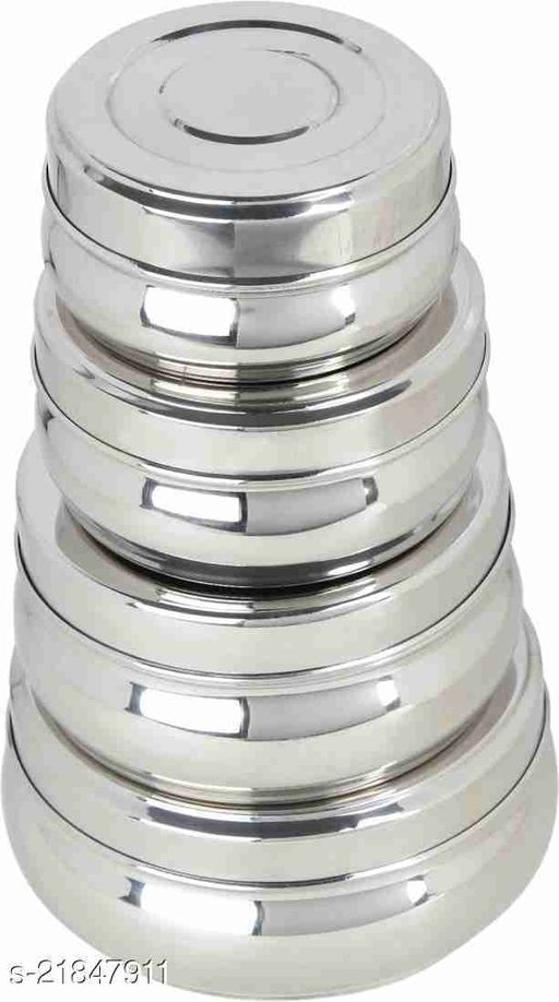 Stainless Steel Belly Food Storage Containers |Set of 4| Kitchen Storage Containers Size 9.5, 10, 11 &13 cm
