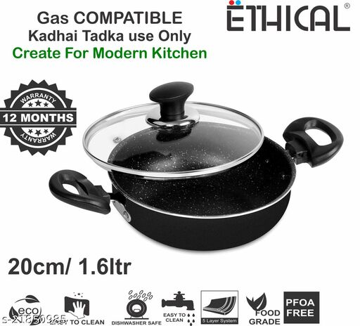 ETHICAL MASTREO Series Tadka Kadhai 20cm with Glass Lid Non-Stick Gas Compatible