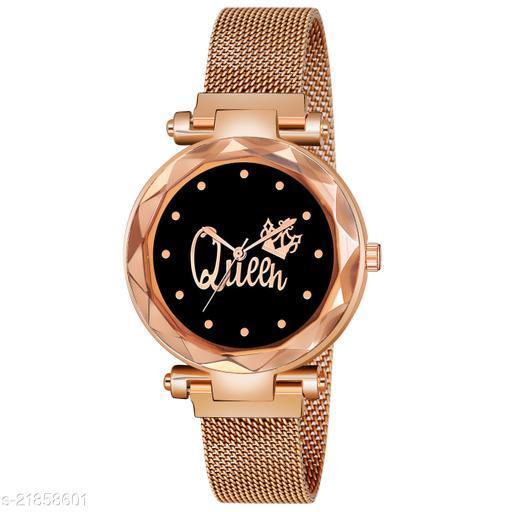 Magnet Belt Black Dial Gold Queen Watch Analog Women Watch