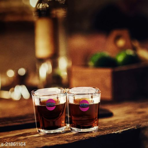 Somil Stylish Funky Shot Glass For Bar & Home, Transparent, Set Of 2, 20 ml -KT57