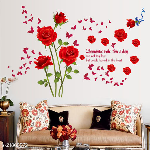 Oren Empower Red Roses wall sticker for a couple (Finished size on wall - 147(w) X 98(h) cm)