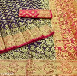 Woven Kanjivaram Silk Blend, Nylon Blend Saree
