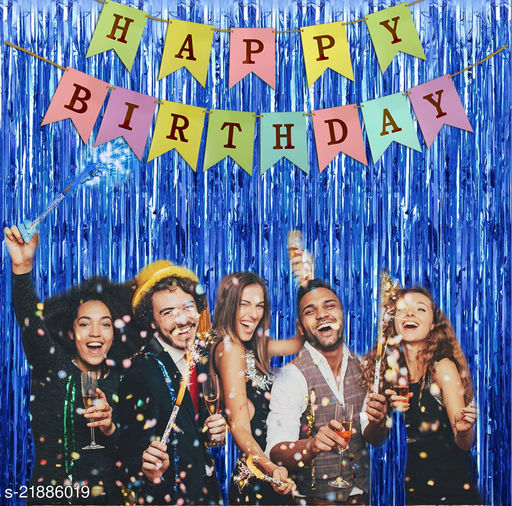 Style Secrets Must Have Birthday Combo - 2 Premium Quality Blue Fringe (3 by 6 feet ) and 1 Multi Color Golden Letters Banner with Ribbon (Total Units-3 )