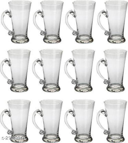 Somil Stylish Designer Beer Mug Set Of 12, Glass, Transparent, 415 Ml Br03
