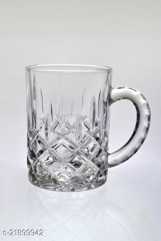 Somil Funky Design Large Beer Mug With Handel, Transparent- B22