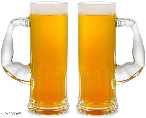 Somil Funky Design Large Beer Mug With Handel, Transparent- B6