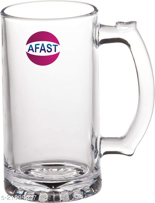 Somil Funky Stylish Transparent Beer Mug With Handle, Glass, Clear 500 ml-Kt04
