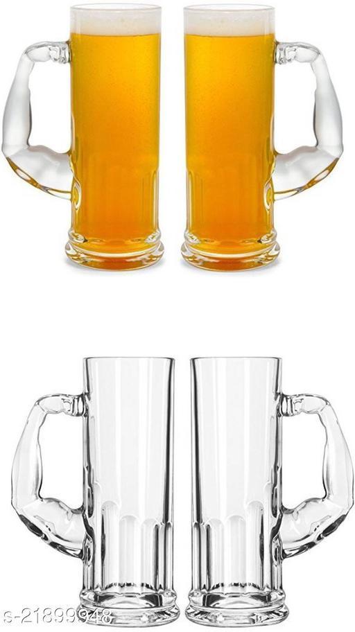 Somil Funky Design Large Beer Mug With Handel, Transparent- B7