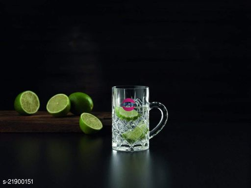 Somil Funky Stylish Transparent Beer Mug With Handle, Glass, Clear, 400ml -Kt12