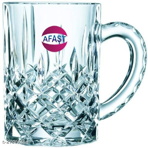 Somil Funky Stylish Transparent Beer Mug With Handle, Glass, Clear, 400ml -Kt13