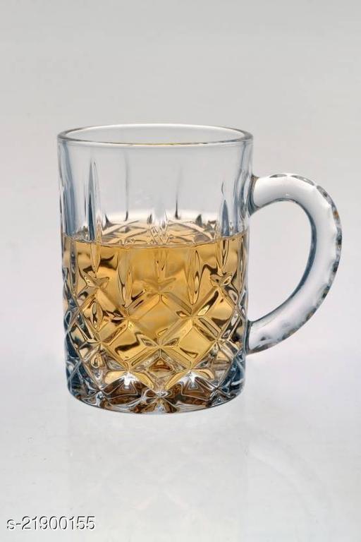 Somil Funky Design Large Beer Mug With Handel, Transparent- B21