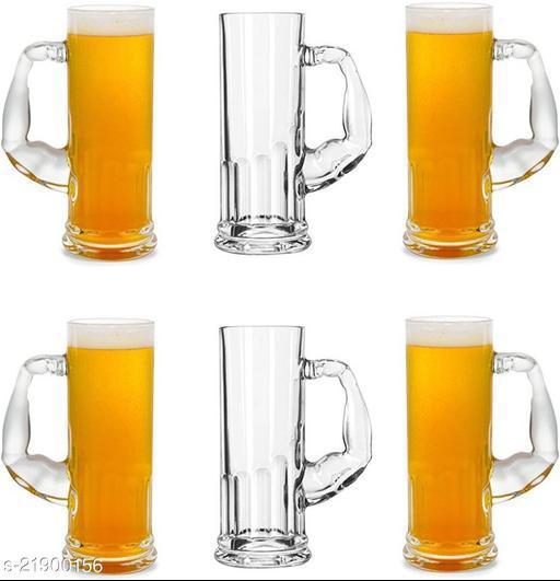 Somil Funky Design Large Beer Mug With Handel, Transparent- B8