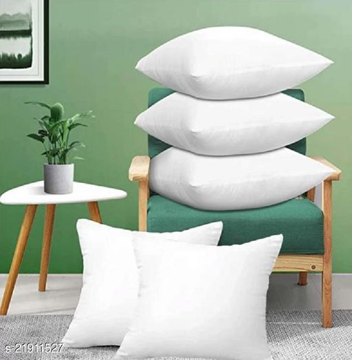 MYTHIKAL Pure Reliance fibre Cushions ( 12 X 12 Inches ), Pack of 5 - White Color
