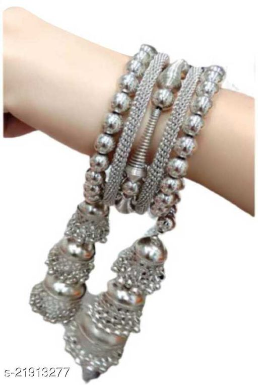 Latest Trend and Fancy Silver Three Jhumki Bracelet for Girls and Women (Pack of 1)