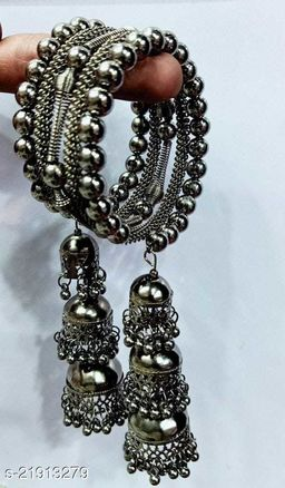 Latest Trend and Fancy Black Three Jhumki Bracelet for Girls and Women (Pack of 1)
