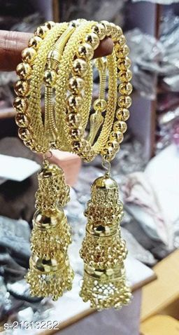 Latest Trend and Fancy Golden Three Jhumki Bracelet for Girls and Women (Pack of 1)