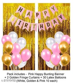 Happy Birthday Banner- Pink + 2pcs Gold Fringe Curtains + 30pcs Pink, Gold, White Metallic Balloons Combo