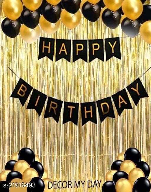 Happy Birthday Banner- Black + 2pcs Gold Fringe Curtains + 30pcs Gold, Black Metallic Balloons Combo