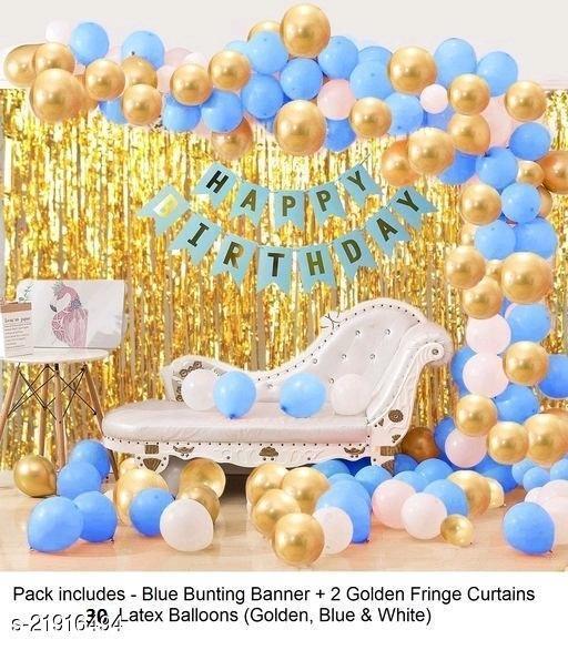 Happy Birthday Banner- Blue + 2pcs Gold Fringe Curtains + 30pcs Blue, Gold, White Metallic Balloons Combo