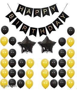 Happy Birthday Banner- Black + 2pcs Black Star(10inch) + 30pcs Gold, Black Metallic Balloons Combo