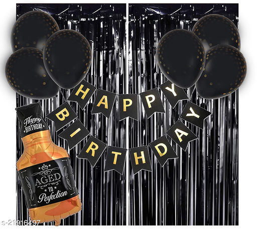 Happy Birthday Banner- Black + 2pcs Black Fringe Curtains + 1pc Black Bottle + 30pcs Black Metallic Balloons Combo