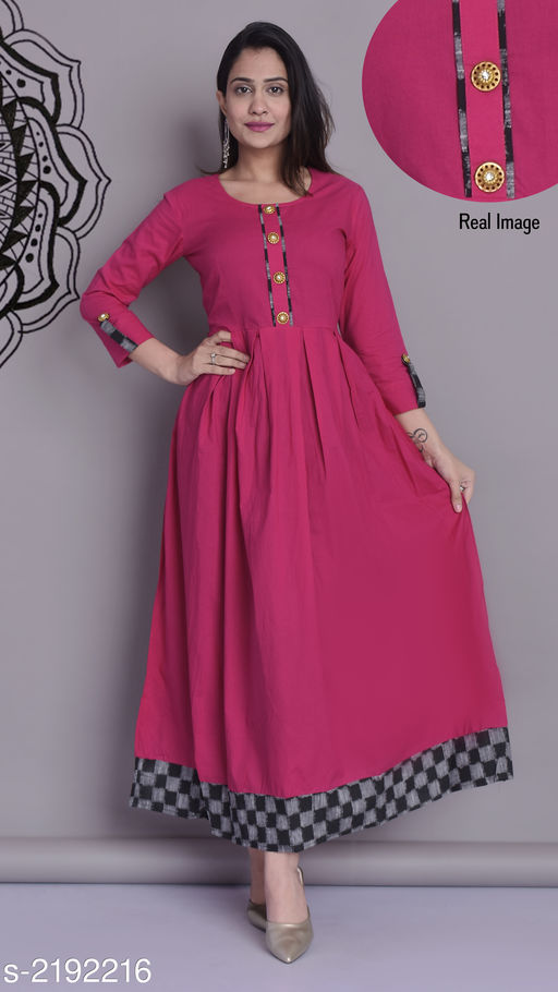 Kurtis & Kurtas Trendy Cotton Long Kurti  *Fabric* Cotton  *Sleeves* Sleeves Are Included  *Size* S- 36 in, M- 38 in, L- 40 in, XL- 42 in , XXL - 44 in  *Length* Up To  54 in  *Type* Stitched  *Description* It Has 1 Piece Of Long Kurti  *Work* Printed  *Sizes Available* XS, S, M, L, XL, XXL, XXXL *   Catalog Rating: ★4 (1240)  Catalog Name: Dharya Cotton Long Kurtis Vol 4 CatalogID_291238 C74-SC1001 Code: 374-2192216-