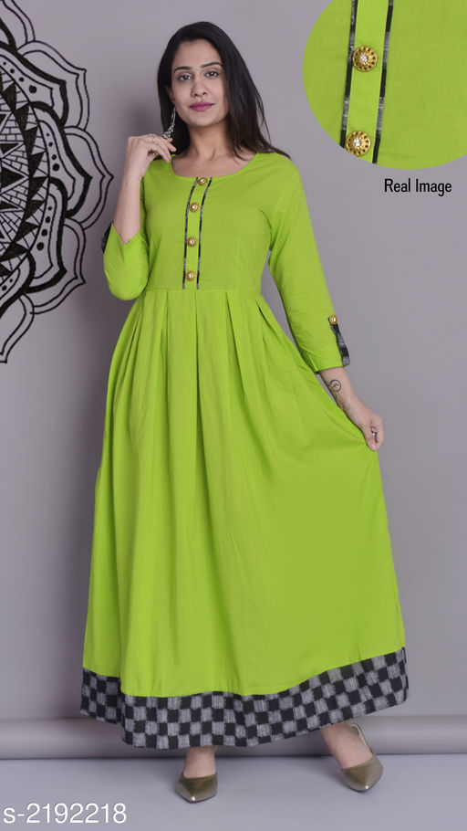 Kurtis & Kurtas Trendy Cotton Long Kurti  *Fabric* Cotton  *Sleeves* Sleeves Are Included  *Size* S- 36 in, M- 38 in, L- 40 in, XL- 42 in , XXL - 44 in  *Length* Up To  54 in  *Type* Stitched  *Description* It Has 1 Piece Of Long Kurti  *Work* Printed  *Sizes Available* XS, S, M, L, XL, XXL, XXXL *   Catalog Rating: ★4 (1240)  Catalog Name: Dharya Cotton Long Kurtis Vol 4 CatalogID_291238 C74-SC1001 Code: 114-2192218-