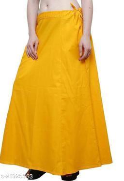 Women Saree Cotton Petticoat-Termeric Yellow-8 Part(Pack of 1)