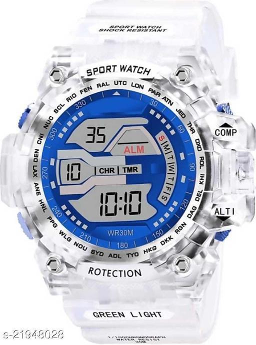 Digital Blue Dial & Transparent White Strap Sports Men's & Boy's Watch Digital Watch - For Boys