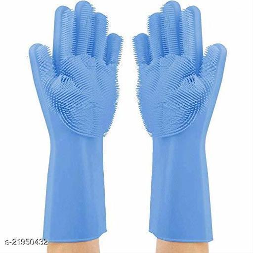 Chin Chin Store Magic Silicone Dish Washing Gloves, Silicon Cleaning Gloves, Silicon Hand Gloves for Kitchen Dishwashing and Pet Grooming, Great for Washing Dish, Car, Bathroom (1 Pair pink)