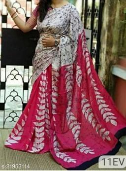 Fancy Soft Mulmul Cotton Saree With Separate Blouse Piece