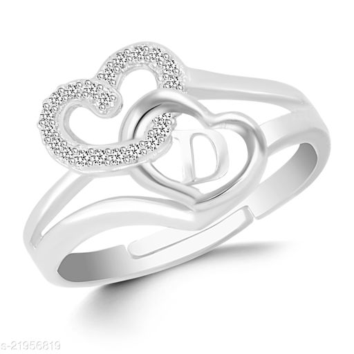 """VSHINE Adjustable Stylish Valentine Love Initial Alphabet Letter """"D"""" Diamond Studded Heart Propose Day Ring Fancy Party Wear American Diamond Free Size Silver Rhodium Plated Fashion Jewellery for Women, Girls, Wife, Girlfriend and Loved ones"""