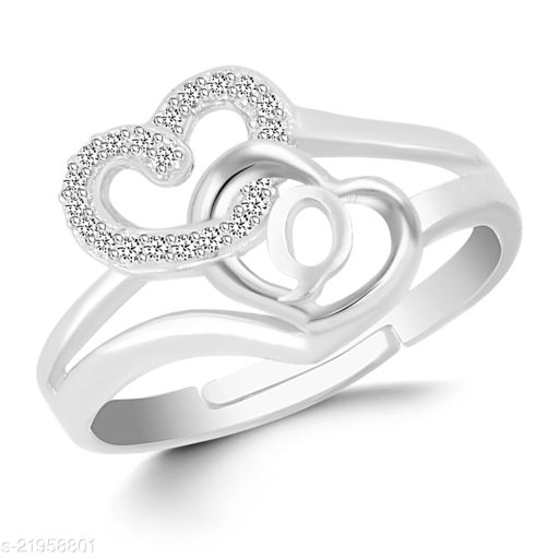 """VSHINE Adjustable Stylish Valentine Love Initial Alphabet Letter """"Q"""" Diamond Studded Heart Propose Day Ring Fancy Party Wear American Diamond Free Size Silver Rhodium Plated Fashion Jewellery for Women, Girls, Wife, Girlfriend and Loved ones"""
