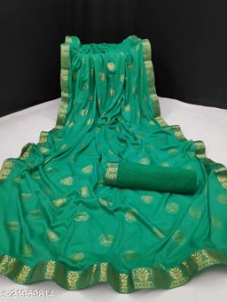 Fancy Lycra Foil Print & Lace Broder Work With Saree Collection
