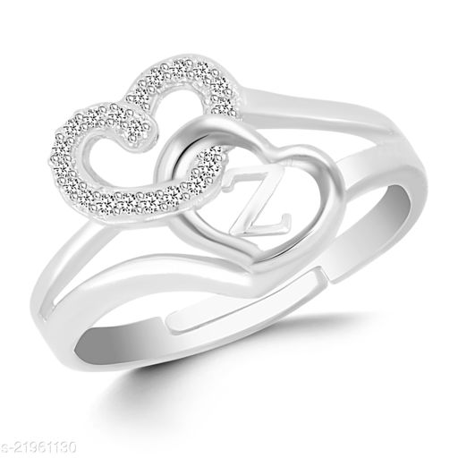 """VSHINE Adjustable Stylish Valentine Love Initial Alphabet Letter """"Z"""" Diamond Studded Heart Propose Day Ring Fancy Party Wear American Diamond Free Size Silver Rhodium Plated Fashion Jewellery for Women, Girls, Wife, Girlfriend and Loved ones"""