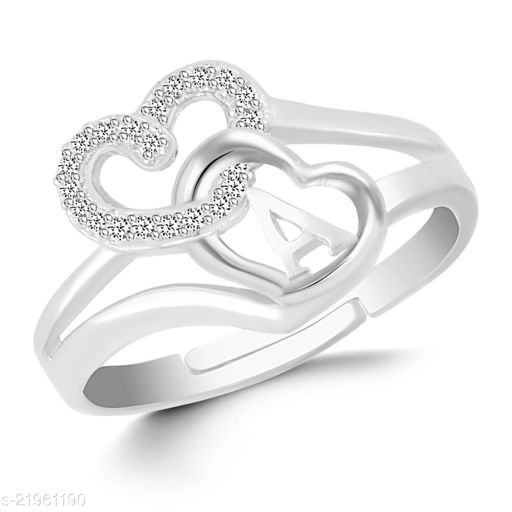 """VSHINE Adjustable Stylish Valentine Love Initial Alphabet Letter """"A"""" Diamond Studded Heart Propose Day Ring Fancy Party Wear American Diamond Free Size Silver Rhodium Plated Fashion Jewellery for Women, Girls, Wife, Girlfriend and Loved ones"""