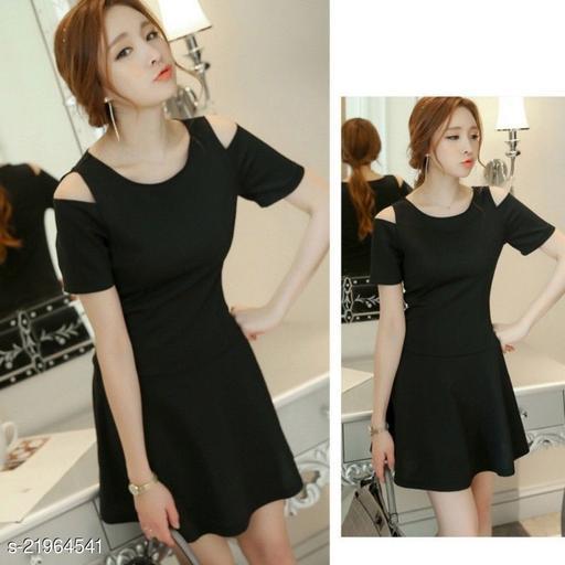 Cold Shoulder A Line Mini Dress
