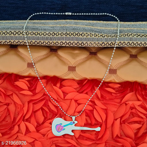 Sullery  Music Note Doubble Guitar  Engraved Designer Locket with Chain Multicolor  Stainless Steel Rock Music Star Lover Gift Pendant Necklace Chain For Men And Women