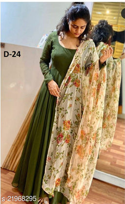 Adorable Straight Gowns Suit With Digital Printed Dupatta
