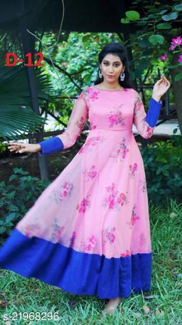 Digital Print Work Faux Georgette Indo-Western Readymade Gown