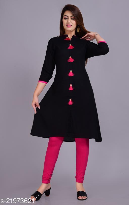 Black Tussal Work rayon Fabric A line Kurta.