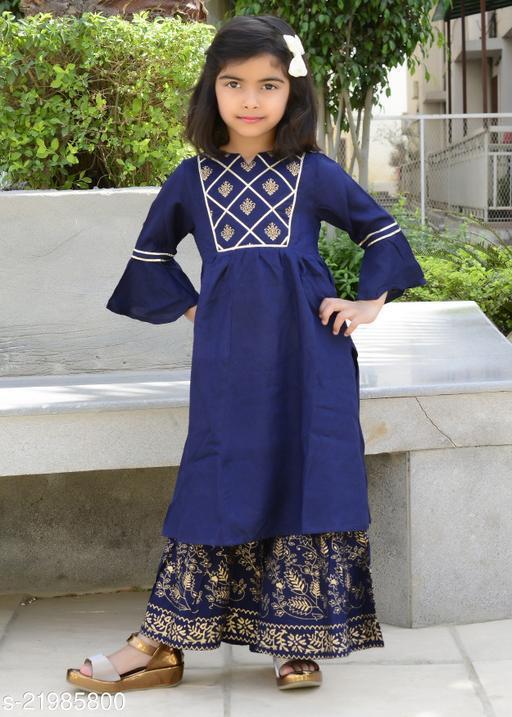 MisBis Green Printed Ethnic Kurti Sharara Set For Baby Girl