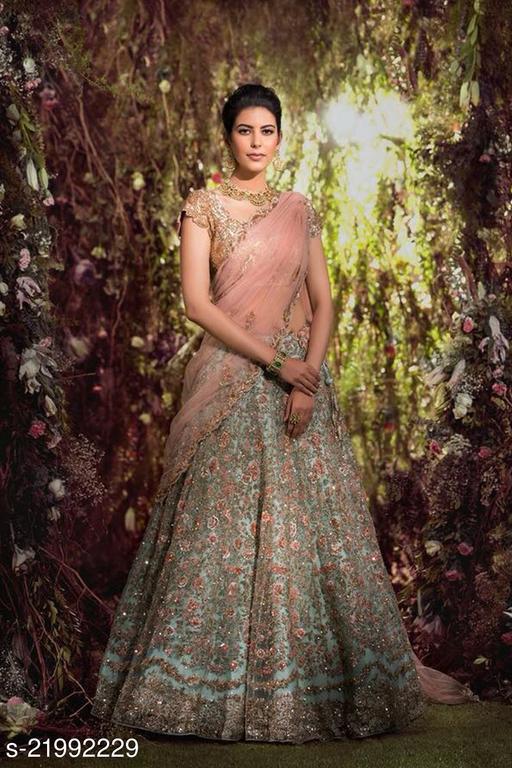 Latest Designer Wedding Wear Green Embroidered Work Lehenga Choli\