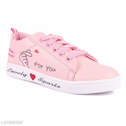 Attractive Women's Synthetic Pink Casual Shoes