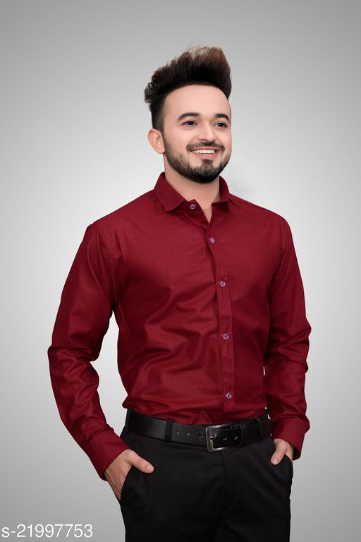 Men Regular Fit Solid Spread Collar Formal Shirt(Stiched Size-M)