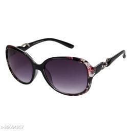 LOF Leopard Purple UV Protected Rectangle Women Sunglass (LS-KE002_6 I56I Grey Color Lens)